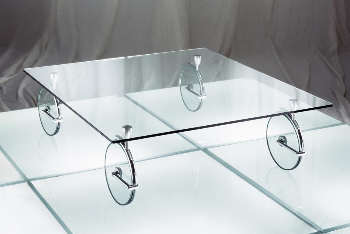 glasbeistelltisch auf 27 cm grossen feststellbaren lenkrollen plattenstrke 12 mm plattengre 100 x 100 cm gestell chrom poliert oder matt - Glasbeistelltisch